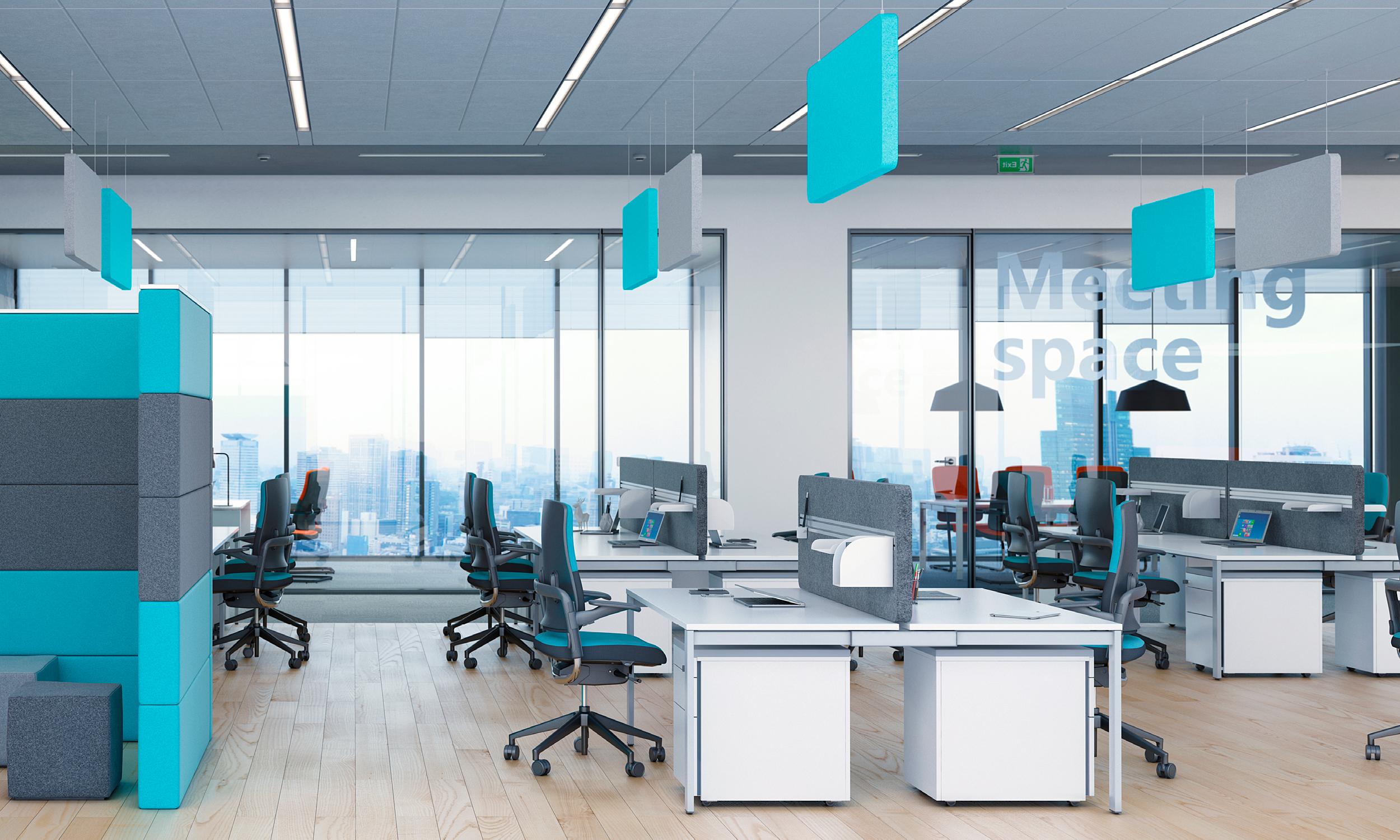bureau open space avec du parquet